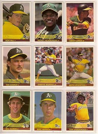 Oakland Athletics 1984 Donruss Baseball Team Set Rickey Henderson Carney Lansford Dwayne