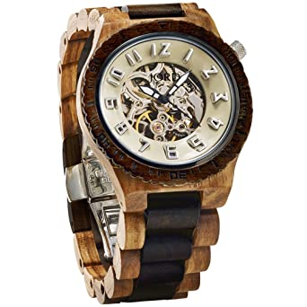 JORD Wooden Watches for Men - Dover Series Skeleton Automatic/Wood Watch Band/Wood