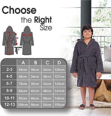 ALLEN /& MATE Kinder 100/% Baumwolle Bademantel mit Kapuze f/ür Kinder Jungen M/ädchen Bademantel aus weichem Frottee Bademantel 2-11 Jahre mit Kopfbedeckung