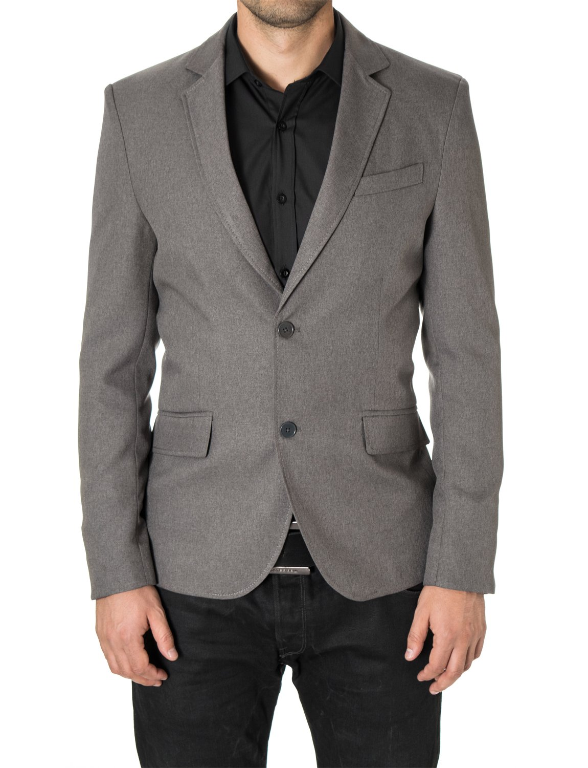 MODERNO Blazers for Men Slim Fit Sport Coat 2 Buttons by (MOD14514B) Gray US XL