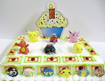 Awe Inspiring Adorable Pokemon 12 Piece Birthday Cake Topper Set Featuring Funny Birthday Cards Online Alyptdamsfinfo