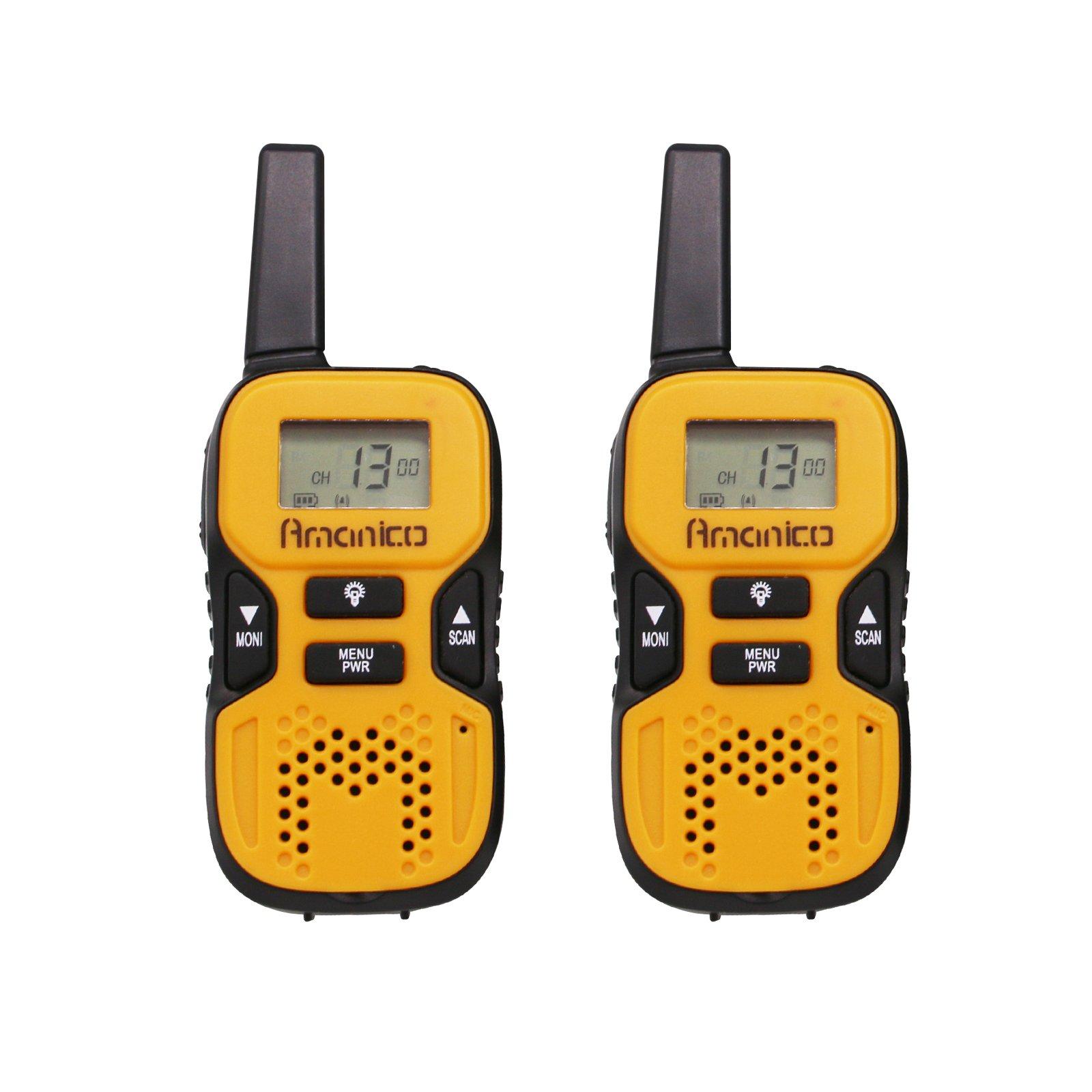 Amanico Kids Walkie Talkies, 22 Channel FRS/GMRS 2 Way Radio 2 miles (up to 3.7 Miles) UHF Handheld Smart & Mini Size 3.3 In Length for girls boys Kids Children Teens (1 Pair), Orange