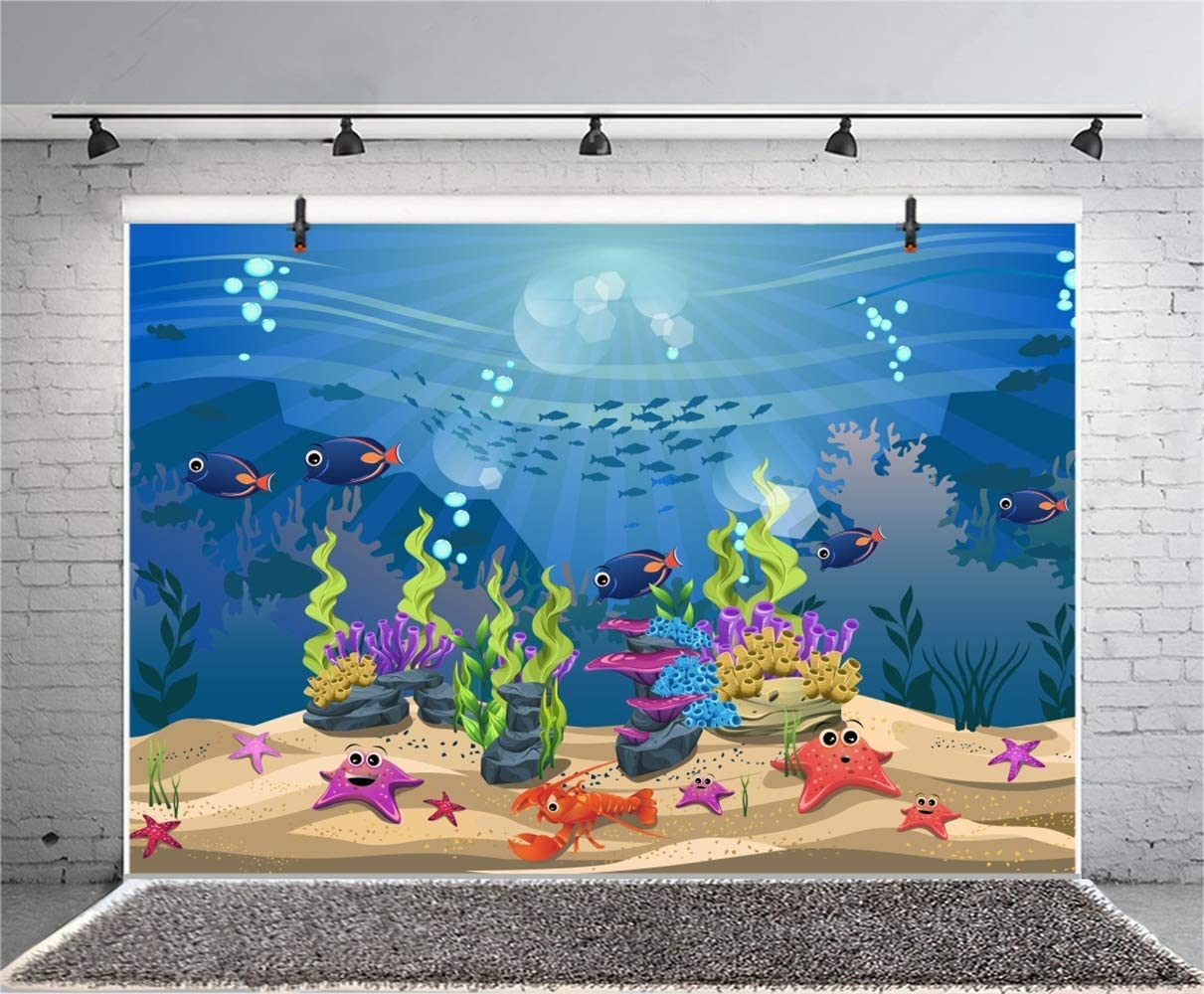 Cartoon Seabed Fishes Starfish Whale Fish School Backdrop Polyester 10x6.5ft Marine Theme Background Child Kids Baby Birthday Party Banner Cake Smash Kids Room Wallpaper Greeting Card Studio