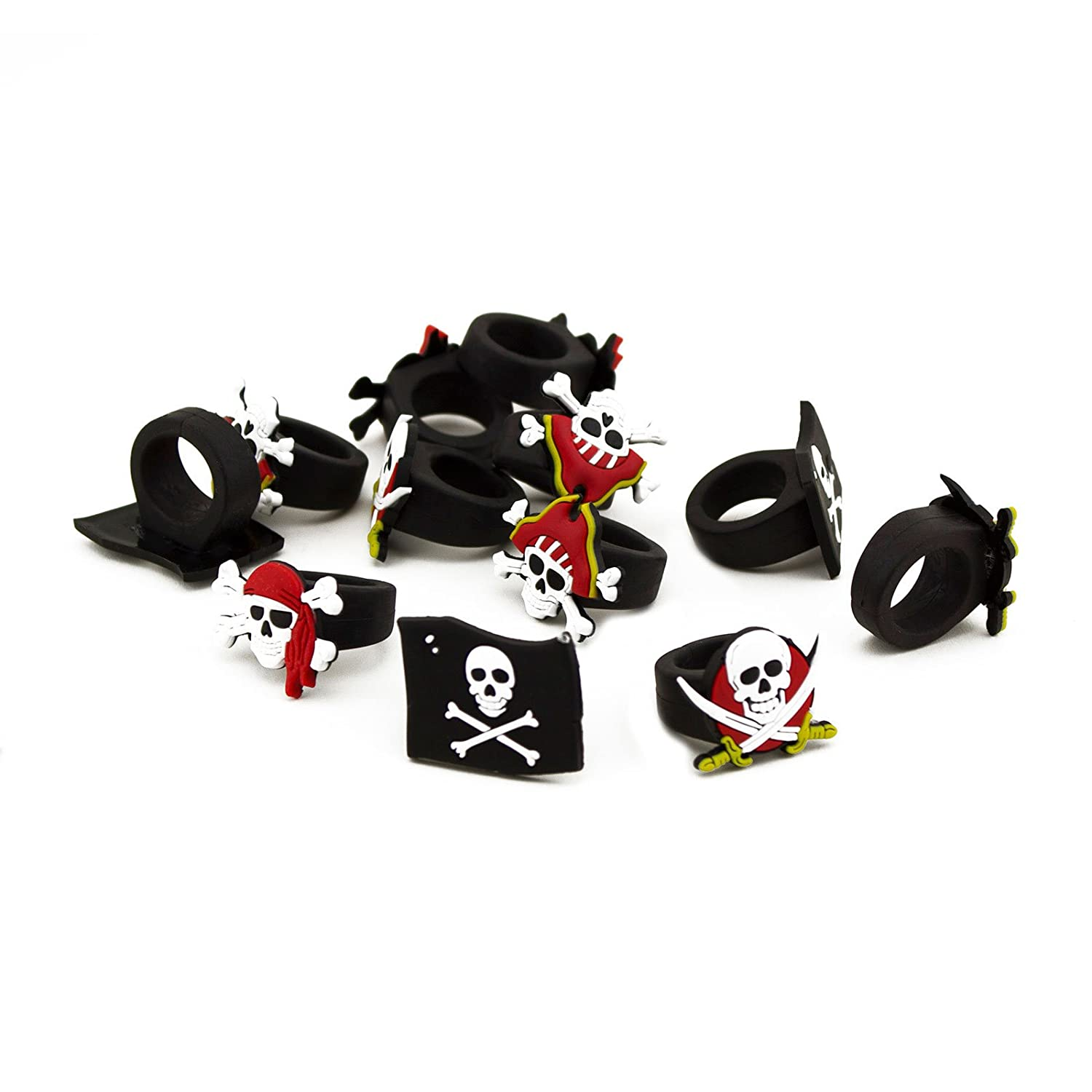 Adorox Rubber Pirate Rings Kids Birthday Party Favors (Assorted (12 Rings))