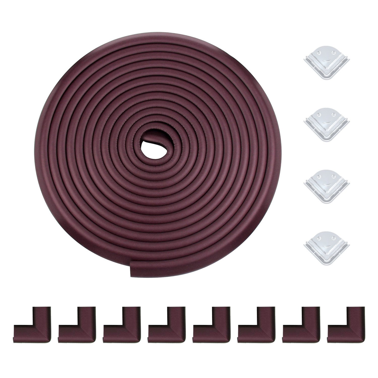 Meiqicool Safe Edge and Corner Guard Set | Furniture Edge Safety Bumpers for Baby | Cushion Foam Protector Kit for Toddlers | 20ft Edge + 12 Corners, Brown, F200804Z