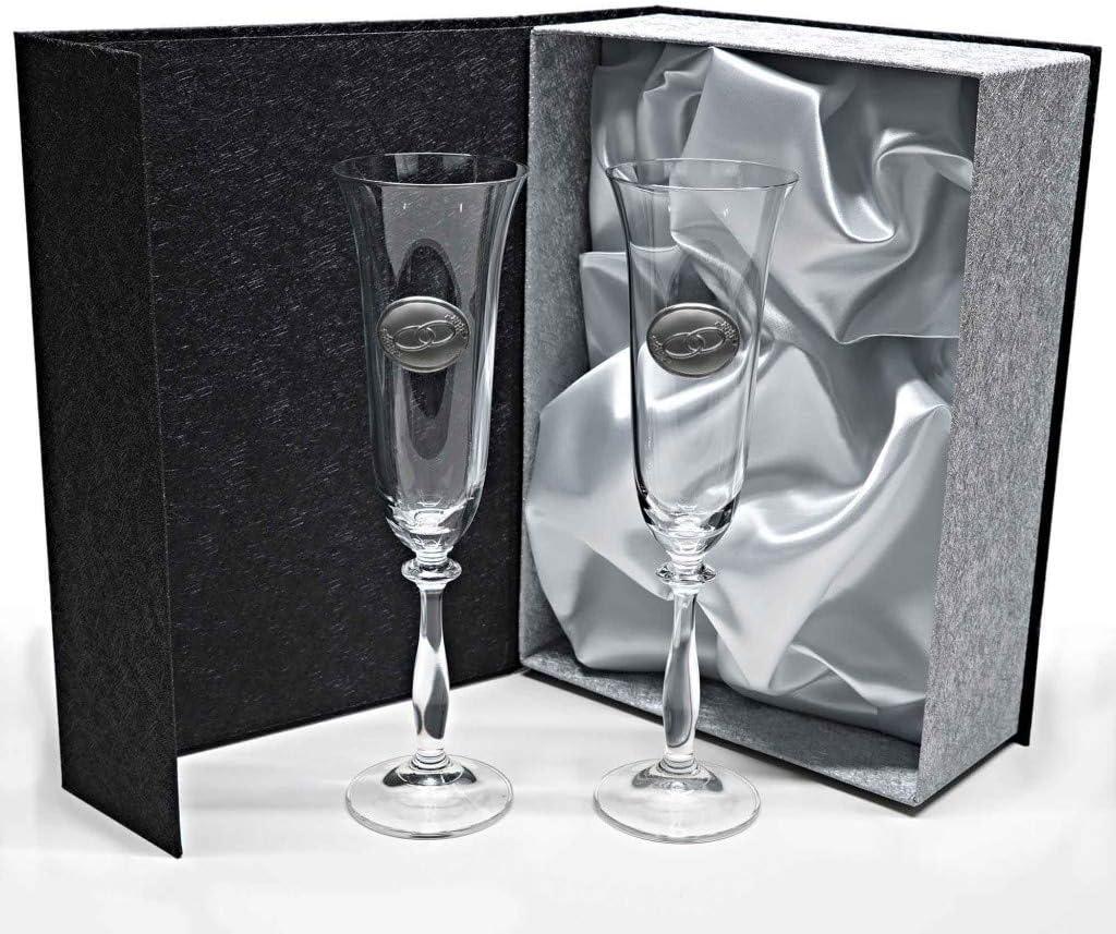 la galaica - Set de 2 Copas de Cristal de Champán Cava y Espumoso | Regalo para 50 Aniversario - Bodas de Oro y Plata | Angela | Incluye Aplique Bilaminado y Estuche de protección | AngelaAlianzas