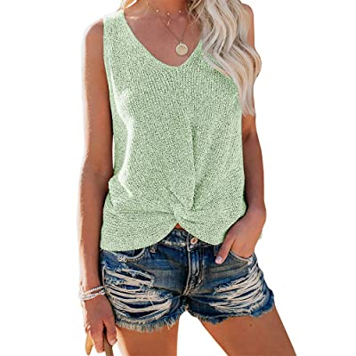 Ybenlow Womens Summer V Neck Sleeveless Sweater Twist Knot Casual Loose Knit Tank Tops at Women's Clothing store
