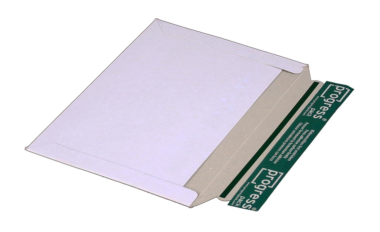 progressPACK - Busta orizzontale per spedizioni postali PP V07.02, in cartone compatto, formato DIN C5, 246 x 172 mm, confezione da 25, colore: Bianco progress packaging GmbH