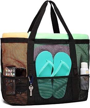 F-color Mesh Beach Tote 8 Big Mesh Pockets & 1 inside zippered pocket
