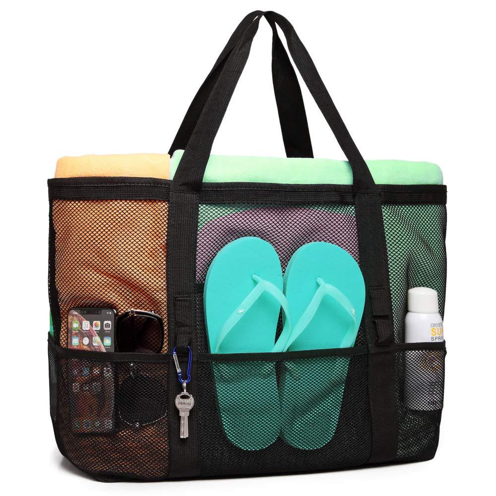 Mesh Beach Bag, F-color Oversized Beach Tote 9 Pockets Beach Toy Bag, Black