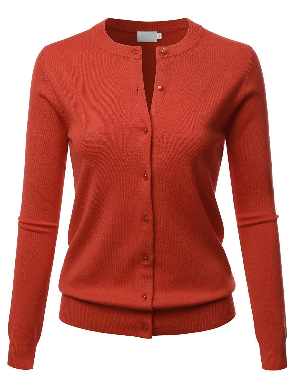 Lbt009rust LALABEE Women's Crew Neck Gem Button Long Sleeve Soft Knit Cardigan Sweater