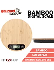 Gourmet Kitchen Eco-Friendly Accessory Food Bamboo Square/Round 5 kg Digital Scale