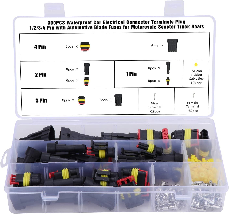 Wimas 300pcs Auto Wasserdichte Schnellverbinder Kabel Elektronik