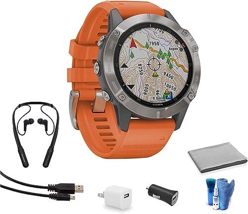 Garmin Fenix 6 Multisport GPS Smartwatch 47mm Sapphire Edition Titanium Ember Orange Band 010-02158-13 Bundle Kit with Bluetooth Earbuds