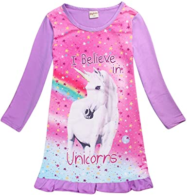 New Girl Unicorn Long Sleeve Pajamas Nightgown Sleepwear Dress Christmas Gifts