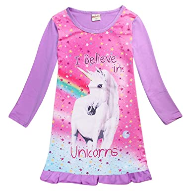 9fe8bd7a82 Kinder Mädchen Einhorn Pferd Kleid Nachtwäsche Nachthemd T-Shirt Pyjamas  Langarm Tops Kleidung (2