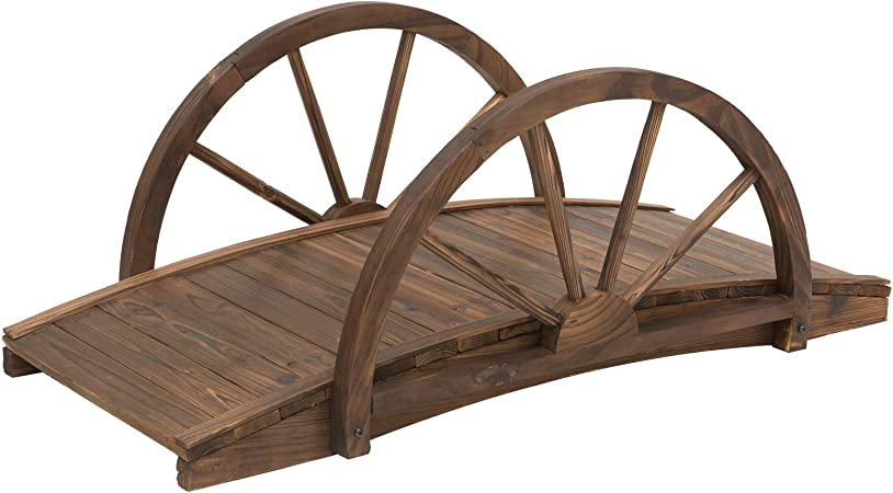 Home Garden Ornament Wooden Fairy Style Arched Bridge Patio Backyard Decor US