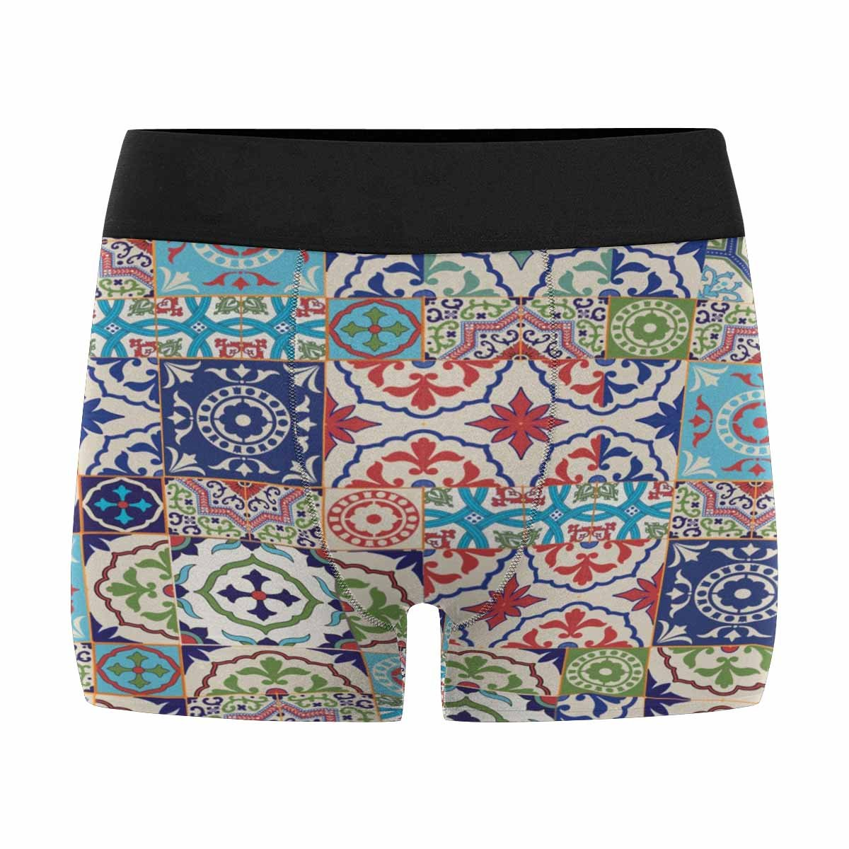 INTERESTPRINT Custom Mens All-Over Print Boxer Briefs Mega Gorgeous Patchwork Pattern from Colorful Moroccan Tiles XS-3XL