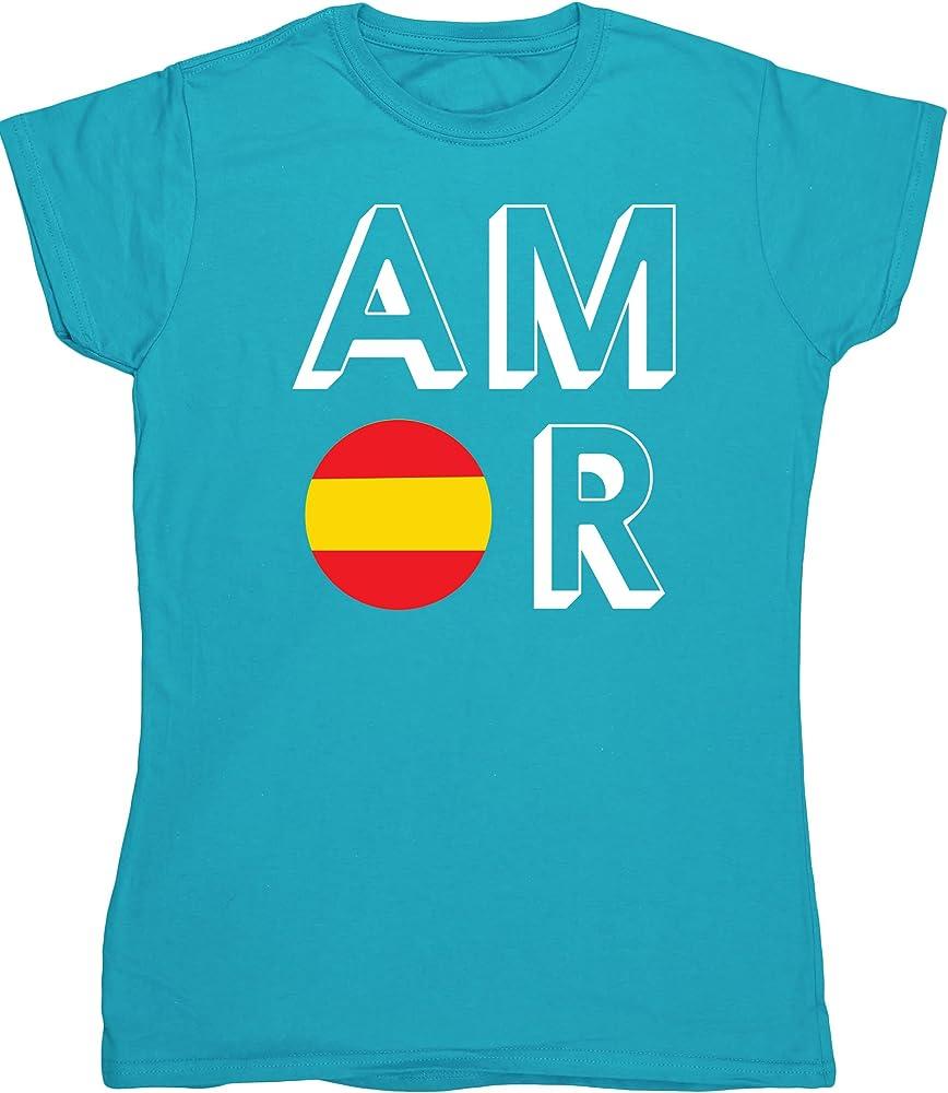 HippoWarehouse Amor España camiseta manga corta ajustada para mujer: Amazon.es: Ropa y accesorios