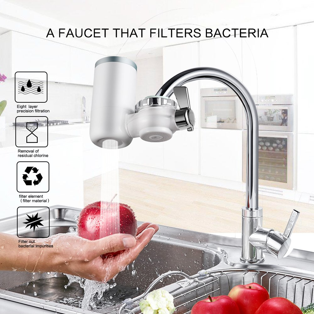 Kaleidoscope Faucet Water Filter, 8 Stage Water Filtration Faucet Mount, 7 Different Kinds of Interfaces, Suitable for Most Faucets, Easy to Install, Large Filtration Discharge System White and Bule by Kaleidoscope (Image #2)