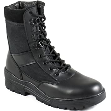 Mens Army/Military Patrol Black Leather Combat Boots Outdoor Cadet Security UK#