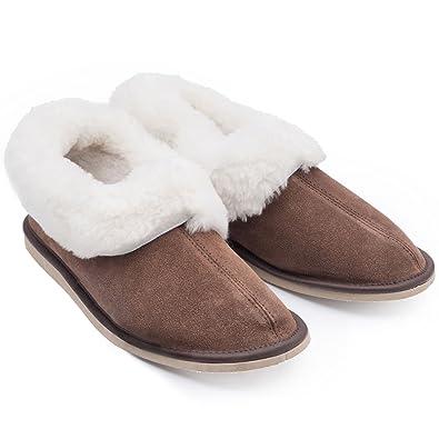 eb6d17fe355aa Slipper Bliss Women's/Ladies Suede Slippers with 100% Genuine Sheepskin  Lining (Size EU
