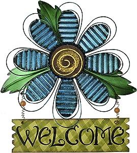 K KILIPES Vintage Flower Metal Welcome Sign Front Door Decor Hanging Wall Sign Indoor Outdoor Garden Hanging Sign 15.75x12.75 (Blue Flower)
