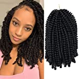 1 Pack Spring Twist Ombre Colors Crochet Braids Synthetic Braiding Hair Extensions Low Temperature Fiber (1 pcs 8 inch, 1B)