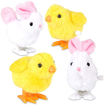ArtCreativity Bunny and Chick Wind Up Toys for Kids, Set of 4, Jumping and Hopping Windup Toys, Cute Fuzzy Design, Fun Easter Party Favors, Stocking Stuffers, Goody Bag Fillers, Carnival Prizes: Toys & Games