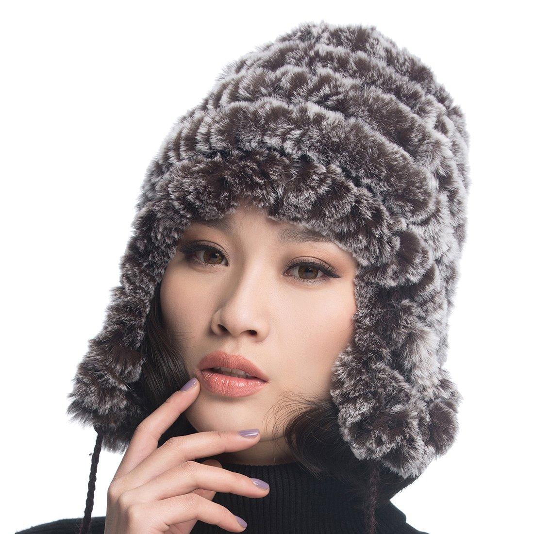 URSFUR Women's Rex Rabbit Fur Hats Winter Ear Cap Flexible Multicolor (Coffee Color) by URSFUR