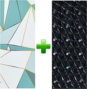 Windimiley Window Film Non Adhesive Home Office Privacy Films Window Stickers Self Static Cling Vinyl Glass Film Anti-UV Window Decorations for Bathroom Meeting Room, Black Laser 17.7 x 78.7 Inch