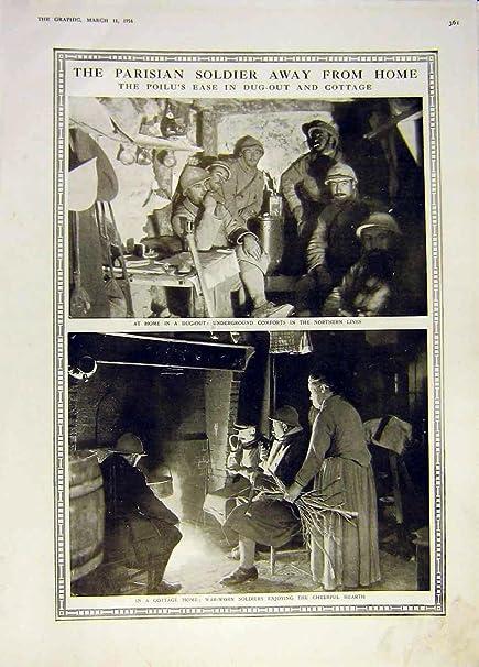 Cabaña Parisiense Poilu Ww1 Francés 1916 del Cobertizo del Soldado