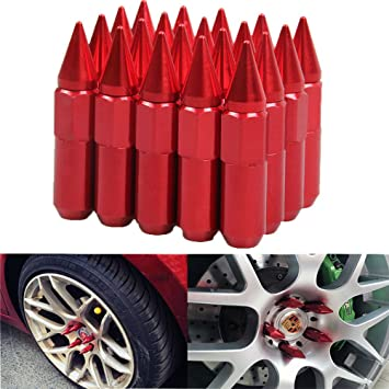 CPR CLOSE ENDED STEEL 17HEX SPIKED WHEEL RACING LUG NUTS RED 12X1.5 KEY