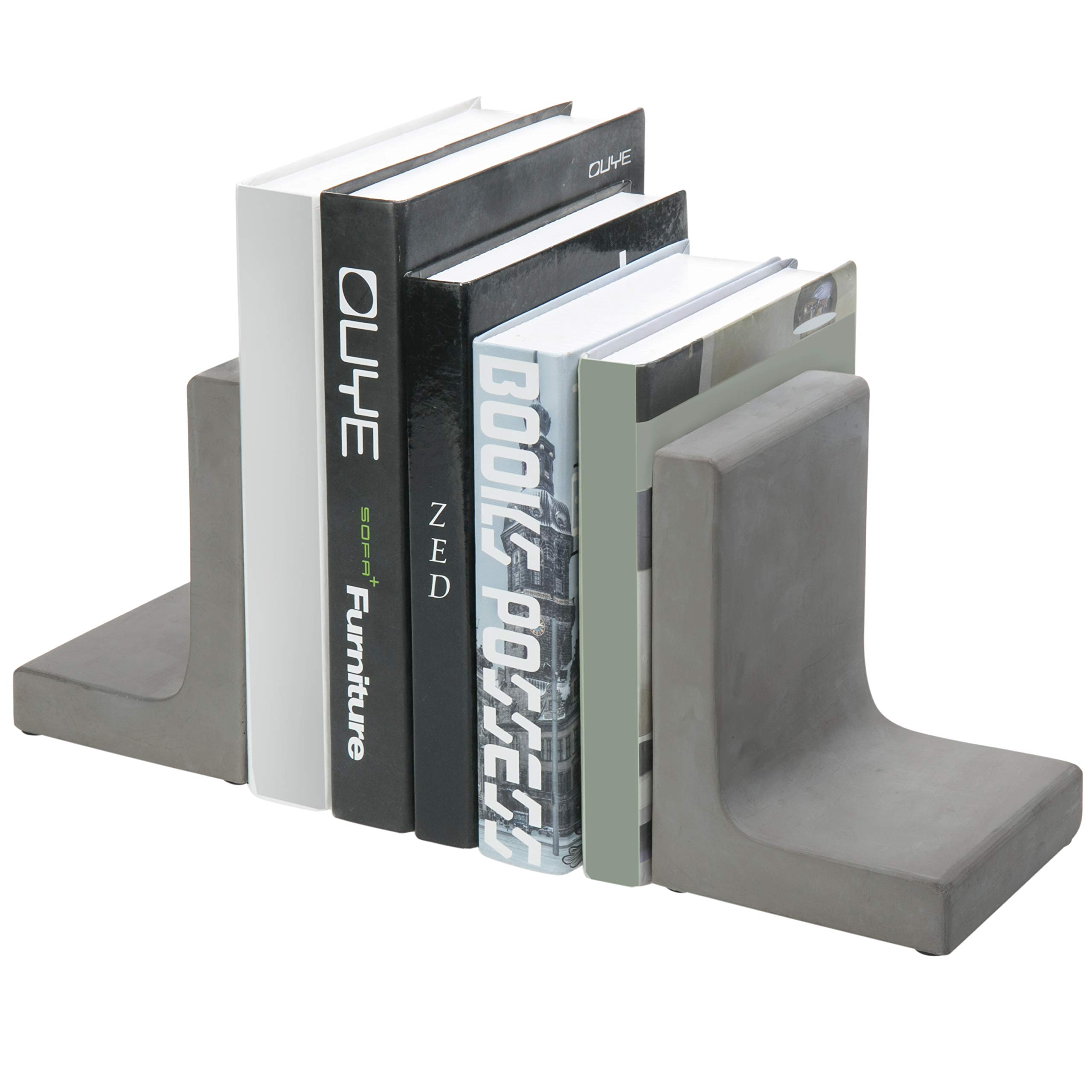 MyGift Modern L-Shaped Concrete Grey Decorative Bookends by MyGift