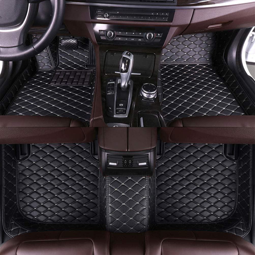 8X-SPEED Custom Car Floor Mats for Land-Rover Discovery 4 7 Full Coverage All Weather Protection Waterproof Non-Slip Leather Liner Set-Seats 2010-2017 Full Coverage All Weather Waterproof Black Beige