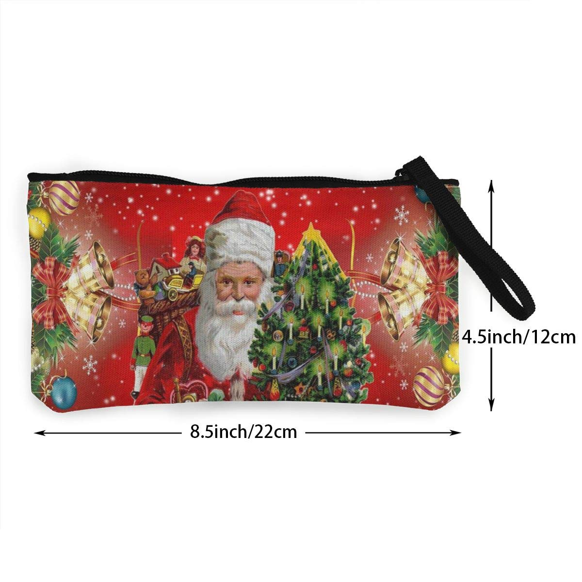 YUANSHAN Merry Christmas Tree Unisex Canvas Coin Purse Change Cash Bag Zipper Small Purse Wallets with Handle