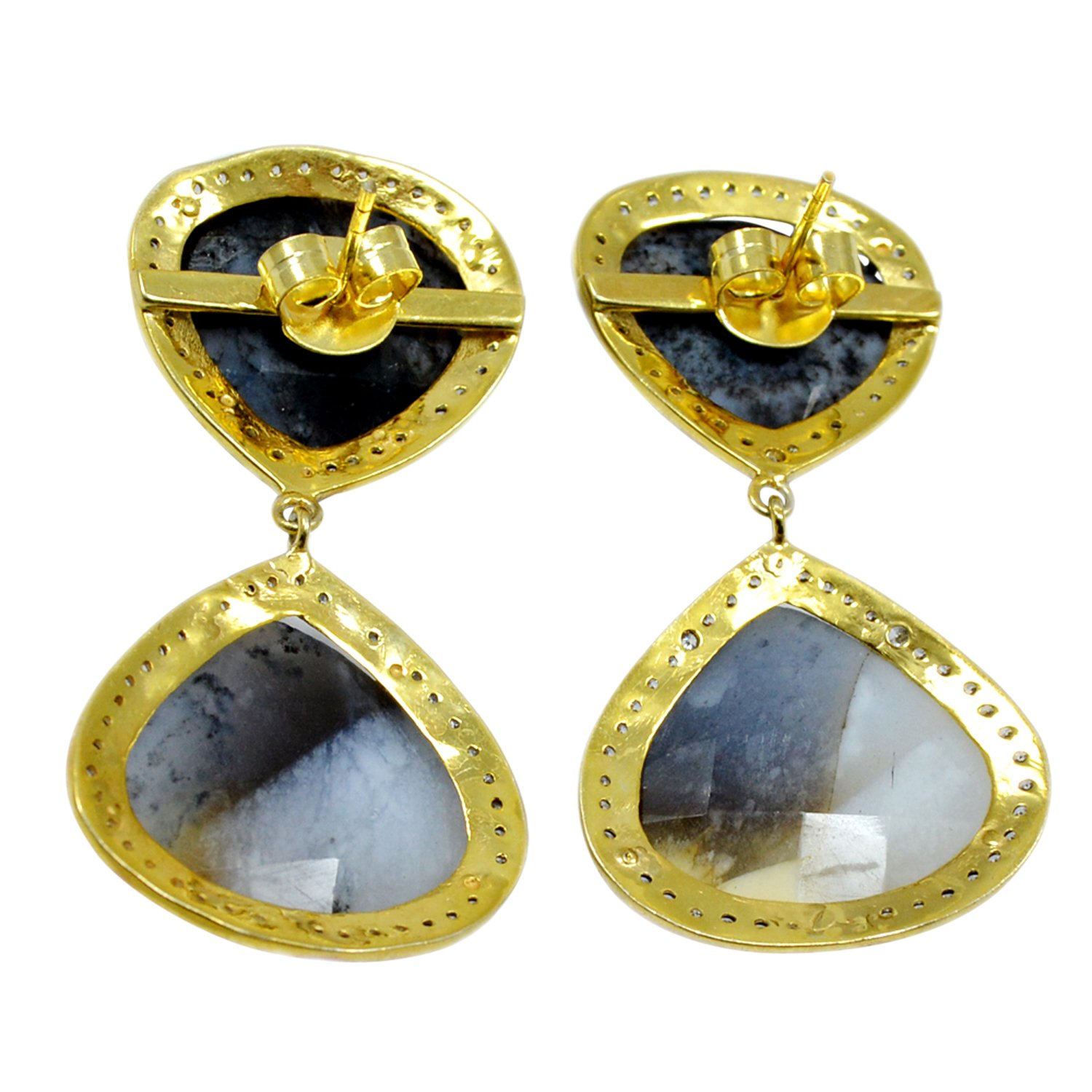 Handmade Jewelry Manufacturer Pear Shape Dendritic Agate /& Cubic Zircon 925 Sterling Silver Yellow vermeil Earring Jaipur Rajasthan India