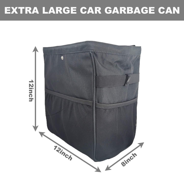 Universal Large car Trash Holder Waterproof Car Trash Bag Vehicle Garbage Organizer car Garbage Bag with mesh Pockets auto Trash bin car Must Haves Interior Accessories for Truck SUV Pickup Jeep MPV
