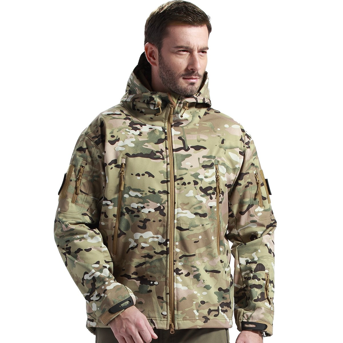 FREE SOLDIER Men's Tactical Jacket Waterproof Army Military Hooded Jacket Softshell Autumn Winter Jacket (CP camouflage XL)