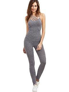 AoMoon Womens Sleeveless Polka Dot Print Halter Neck Backless Jumpsuits with Belt