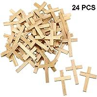 24 Piezas Cruz de Madera Natural Colgantes Cruz