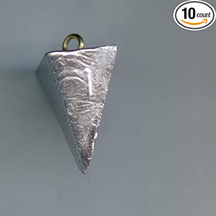 Lot of 8 Pyramid Fishing sinkers 4 of each  10 and 16 oz weights