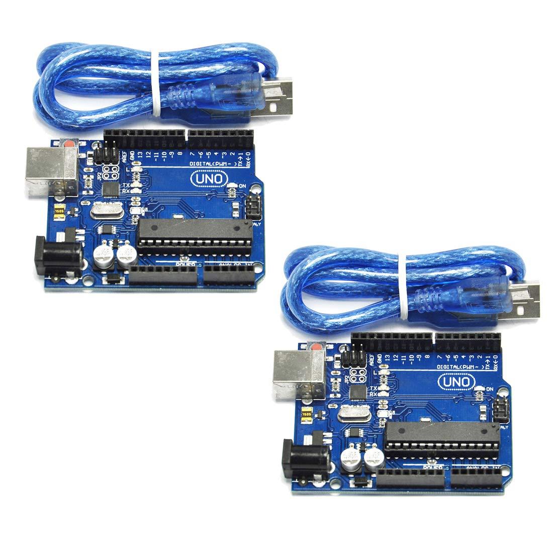 HiLetgo 2pcs UNO R3 ATmega328P ATMEGA16U2 Development Board Compatible with UNO R3 Arduino by HiLetgo