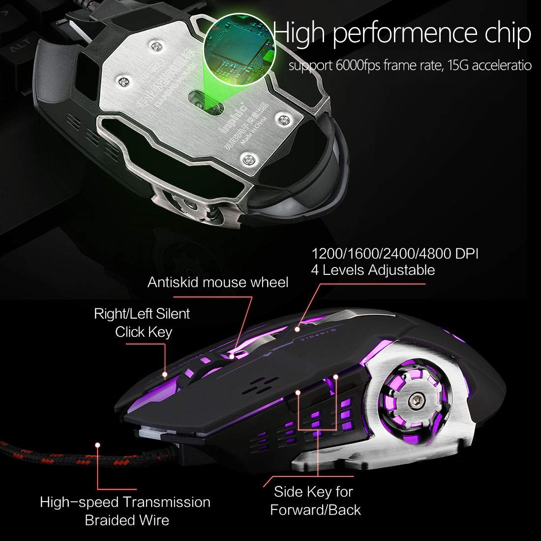 Gaming Mouse Mute Silent Click,Inphic USB Wired Optical Gaming Mice with LED Optical, 4 DPI Adjustment Levels, 6 Buttons for Laptop, PC, Mac (Metallic Black)