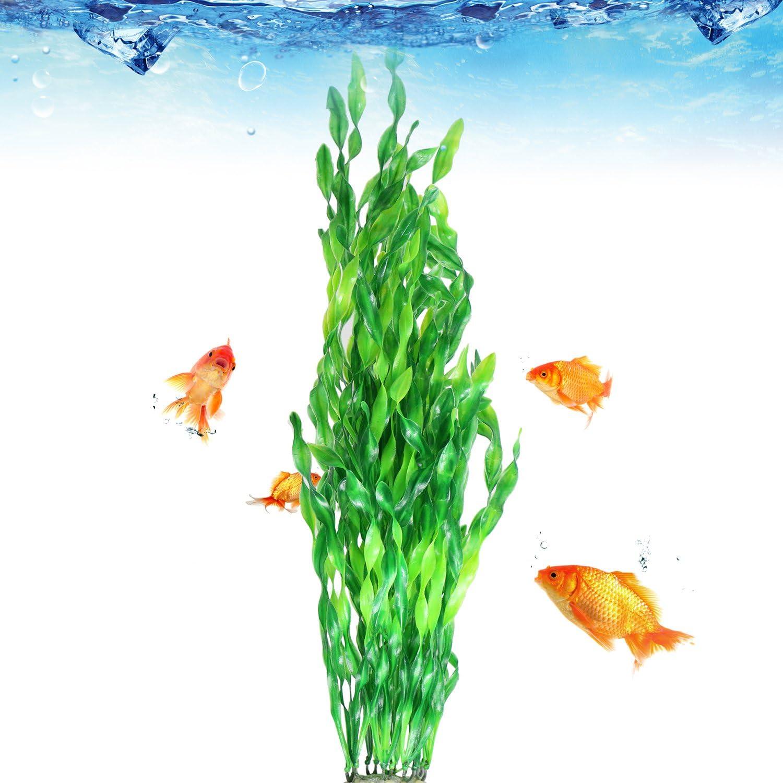Tacobear 20 Inch Large Aquarium Decor Gradient Color Fish Tank Decoration Ornament Artificial Plastic Plant Green