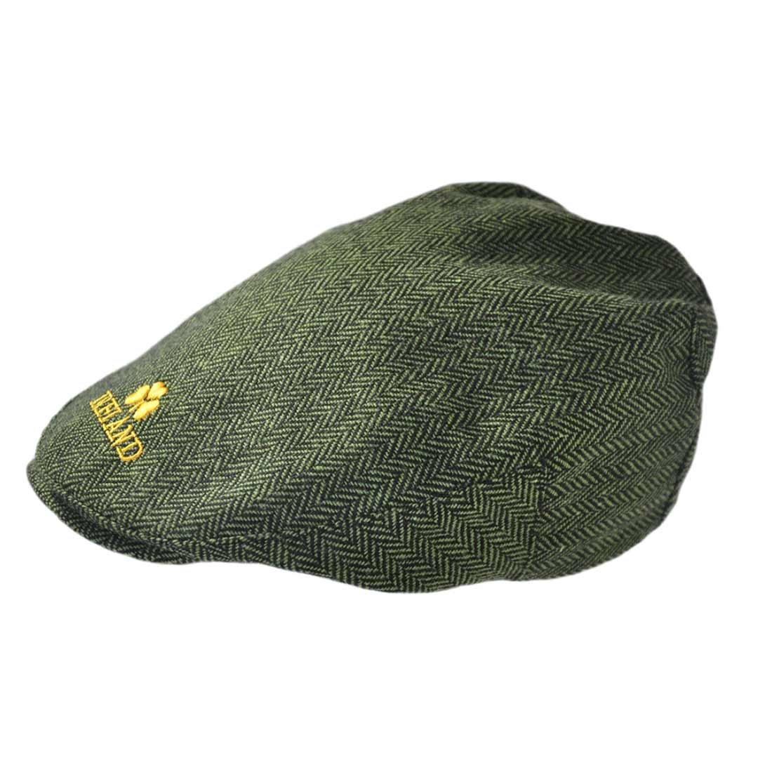 Carrolls Irish Gifts Green Tweed Cap with Yellow Ireland Emblem