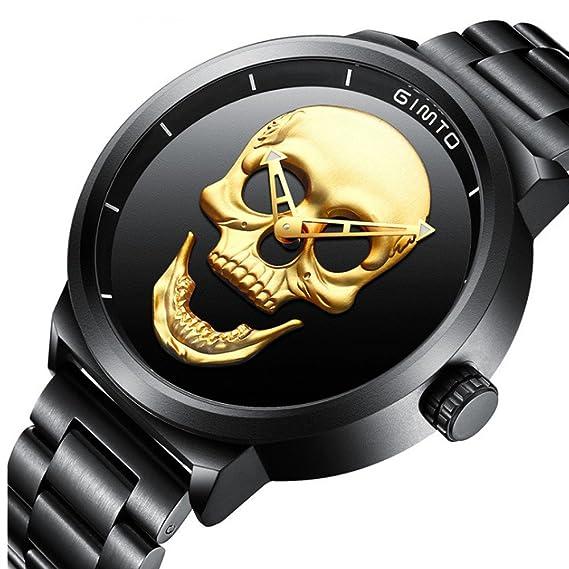 Amazon.com: Emubody ❤ Diseno Unico Craneo Relojes Hombres Lujo Deportes Cuarzo Militar Acero Reloj: Watches