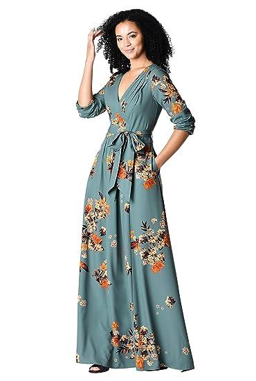 c562e9f98c8 eShakti FX Pleated Floral Print Crepe Maxi Dress Short Lavender Multi at  Amazon Women s Clothing store