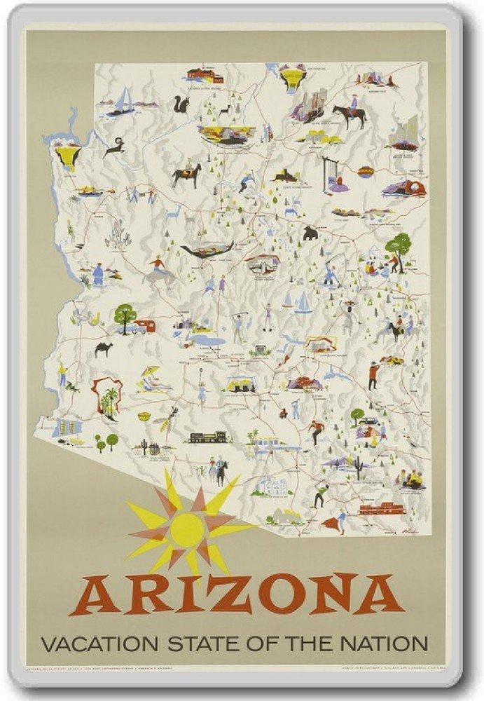 Arizona, Vacation State of The Nation, USA - Vintage Travel Fridge Magnet - Calamita da frigo Photosiotas