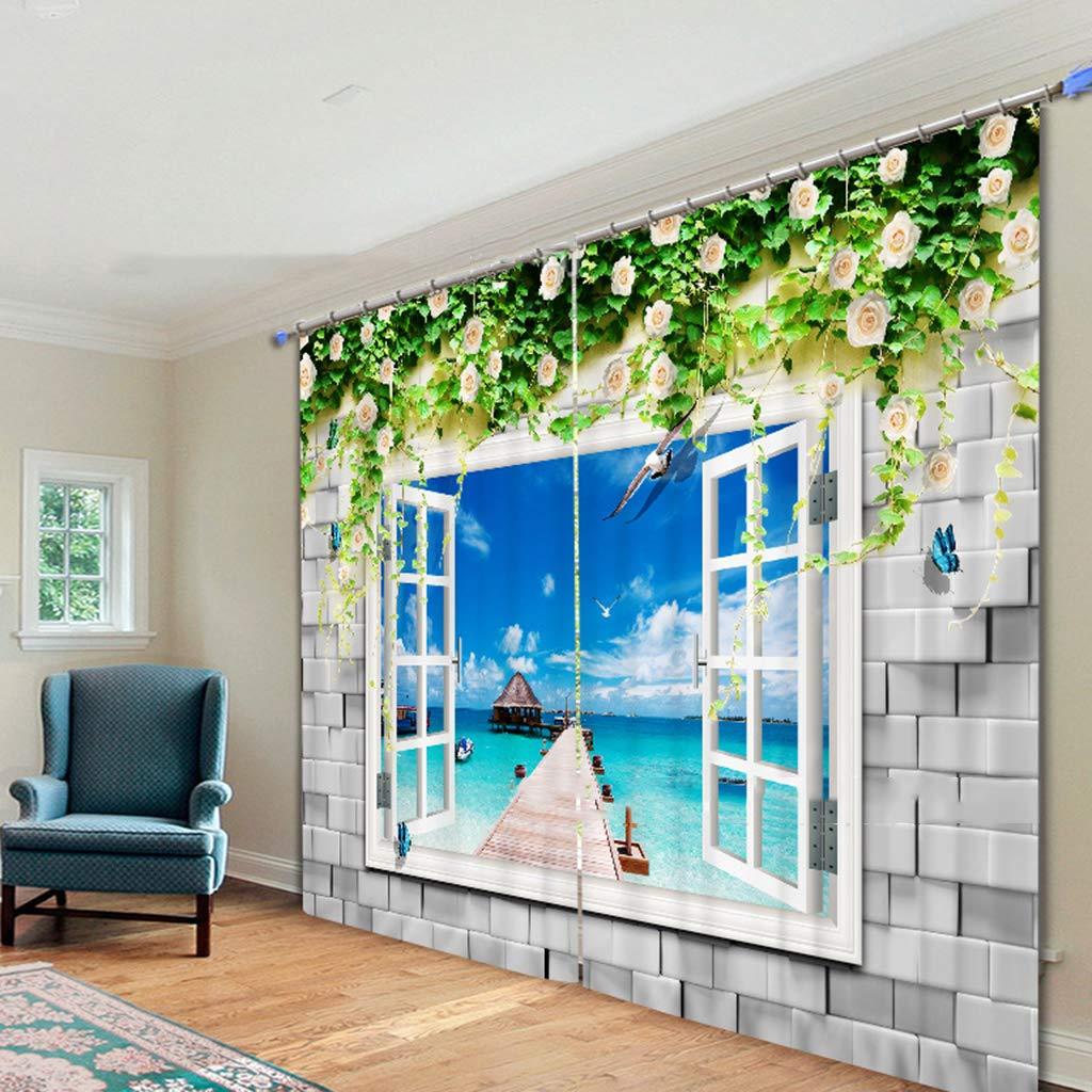 Vorhänge 3D 2 Panels Für Wohnzimmer Schlafzimmer Dekor Öse/Ring Top Window Panels - Gefälschte Fenster Am Meer